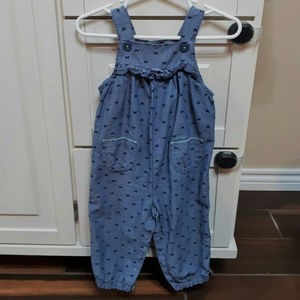 Baby girl denim style overall outfit